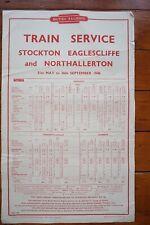 1948 BR Railway Train Timetable Poster Stockton Eaglescliffe Northallerton