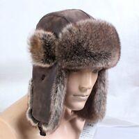 Men Aviator Trapper Hat Cap Flying Fur Winter Ski Ushanka Beanie Faux Leather G