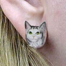 Conversation Concepts Silver Tabby Maine Coon Cat Earrings Post