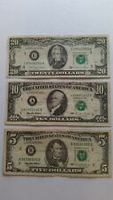 Lot of 3 Three Old US Notes Bills (1988 - 1995) $35.00 Face Value