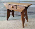 Antique Primitive 19th Century Pine Stool Bench End Table w/ Drawer