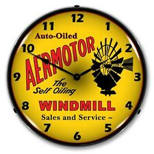 Aermotor Windmill Retro/Vintage Style LED Lighted Wall Clock ~ Made in USA ~