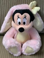 "Disney Store Plush 15"" MINNIE MOUSE Easter Bunny Rabbit Pink Yellow Gingham HTF"