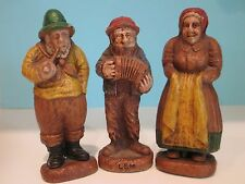 Syroco Hillbilly People FOLK FIGURINES Lem Accordion Old Salty Man Peasant Lady
