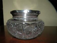 ANTIQUE STERLING & AMERICAN BRILLIANT CUT GLASS DRESSER JAR