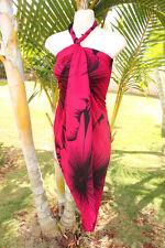 Sarong Hawaii Hawaiian Cruise Beach Wrap Dress ~ FUSCHIA PINK GIANT HIBISCUS