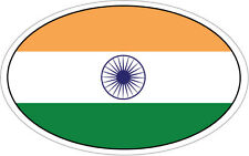 INDIA / INDIAN FLAG IN AN OVAL VINYL STICKER - South Asia 16cm x 9cm