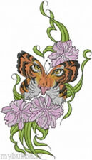 Tiger Face Butterfly SET OF 2 BATH HAND TOWELS EMBROIDERED BY LAURA