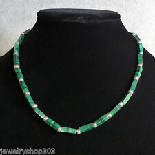 """Genuine Malachite & Sterling Silver Bead Necklace 4mm 17.5"""" Length"""