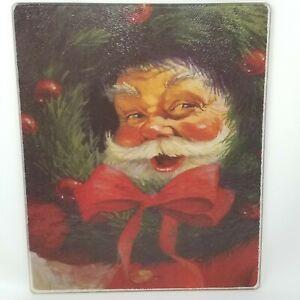 Vintage Glass Santa Claus Peeking Through Bow Tied Wreath Cutting Board