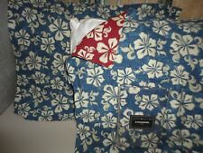 TOMMY HILFIGER STINSON BEACH RED BLUE FLORAL HIBISCUS (3) STANDARD PILLOW SHAMS
