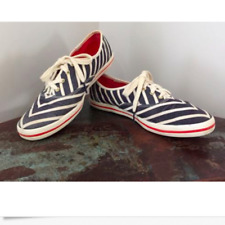 KEDS for KATE SPADE Sz 9.5 Chic Canvas Chevron Pattern Sneakers Navy /White