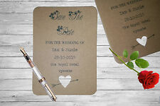 Personalised Save The Date Cards X 50 Vintage Rustic Hearts Magnetic A6 SD281