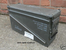 US Army Large Metal Ammo Box Tool Box Storage Ammunition Olive Surplus Tin Box