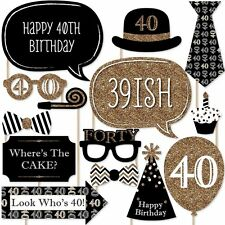 20pcs 40th Birthday Black Gold Birthday Party Photo Booth Props Favour Kit DIY