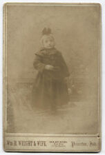 CABINET CARD GIRL IN WINTER HAT AND COAT. PRINCETON, INDIANA. BY WRIGHT AND WIFE