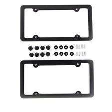 2PCS SLIM BLACK Aluminum Alloy LICENSE PLATE FRAME SCREW CAPS SLIM 4 HOLE US CAR