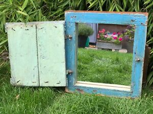 Antique Vintage Reclaimed Indian Shuttered Window Mirror Eau De Nil Turquoise