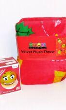 Emoji Expression Christmas Red Velvet Plush Throw Blanket and Ornament Set