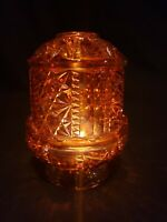 Large Amber Glass Tiara Fairy Lamp, Mint Condition! Star Pattern.