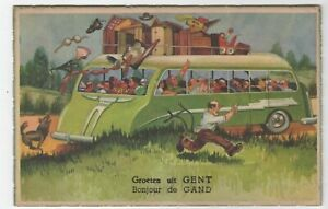 Gent Belgium Novelty Pullout Postcard Charabanc 10 Coloured pullout photos Comic