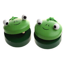 10x(1 Pair Round Wooden Frog Castanet Baby Musical Instrument Toy - Green K6R7