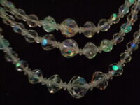 VINTAGE 50'S AURORA BOREALIS CRYSTAL GLASS BEAD MULTI  3 STRAND NECKLACE