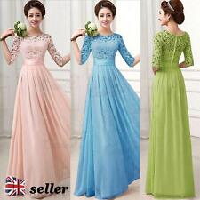 UK Womens Long Prom Bridesmaid Dress Evening Maxi Dress Formal Ball Gown Wedding