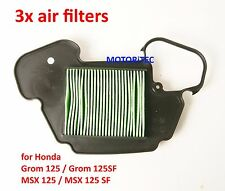 3x replacement air filter  for Honda MSX 125 125 SF 2013 <