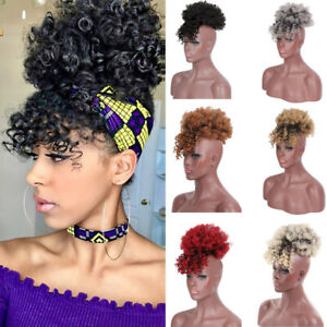 Afro Kinky Synthetic High Puff Drawstring Ponytail With Bangs Hair Extension