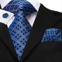 USA Blue Plaids Mens Tie Necktie Silk Jacquard Woven Set Wedding Party Luxury XL