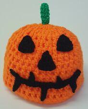 Hand crochet Halloween Pumpkin baby beanie hat   0 - 2 months