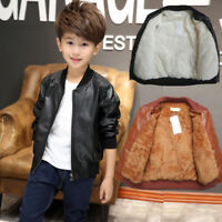 Cool Kids Boys Faux Leather Jacket Fleece-lined Biker Outerwear Coat Warm Winter