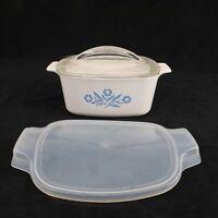 Corning Ware Blue Cornflower A 1 1/2 B 1.5 Qt Casserole Dish w 2 Lids Glass Plas