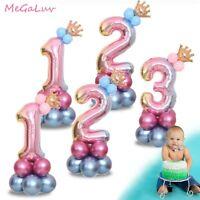 17pcs / 32 '' Numéro arc-en-ciel Géant Ballons en Aluminium Bébé douche décor