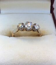 ANTIQUE 1916-18ct YELLOW GOLD & PLATINUM 3 DIAMOND ENGAGEMENT RING SIZE 7.5