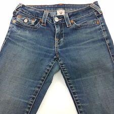 True Religion BILLY Womens Jeans W28 L33 Blue Slim Fit Straight Low Rise