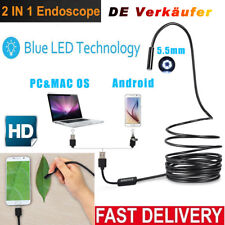 USB Endoskop 5.5mm 2 in 1 Wasserdicht Boreskop Inspektion Kamera Mit 6 LEDs 5M