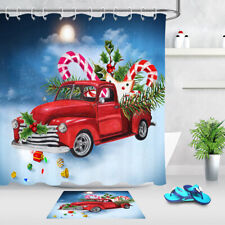 """Christmas Red Truck Gifts Candy Cane Snow Shower Curtain Set Bathroom Decor 72"""""""