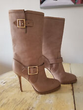 NEW JIMMY CHOO STILETTO GALEN BOOTS TAUPE LEATHER SIZE 40.5 / 10.5