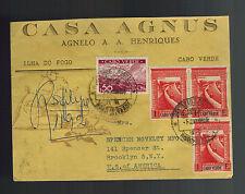 1950 Cape Verde Cover to USA Casa Agnus Red Wax Seals