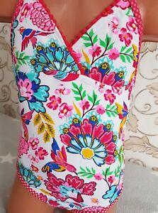 England Mädchen Neckholder Badeanzug Bademode Bikini Blumen Flower Gr 98-128