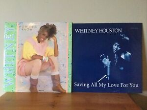 "2 X Whitney Houston 12"" Singles Saving All My Love For You How Will I Know Vinyl"