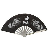 Chinese Kung Fu Martial Arts Tai Chi Dragon Stainless Steel Frame Fan, Black