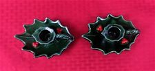 VINTAGE COLLECTIBLE LEFTON GREEN HOLLY BERRY CANDLE HOLDERS IN THE ORIGINAL BOX