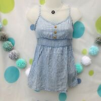 Y2k 00s Style F&F Stripe Blue Cami Cotton Top Size 8 Summer