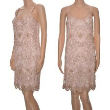Ladies Miss Selfridge Embellished dress pink cami slip sequins beads prom party
