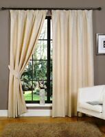 Natural Linen Ready Made Fully Lined Tape Top Pencil Pleat Curtains Cream Neutra