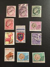 Timbres de France-Lot de 11 timbres pré oblitérés neufs