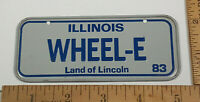 Illinois Wheel-E Land of Lincoln 83 Bicycle License Plate Rare Vintage